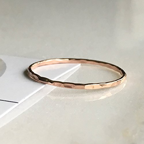 Stacking Ring 14k Rose Gold Filled, Dainty Little Plain Band, Size 7