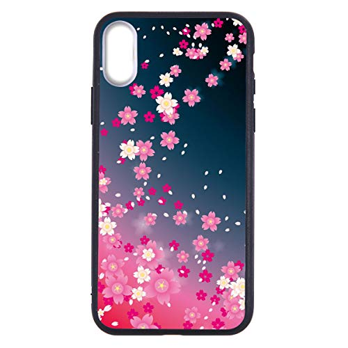 LuGeKe Sakura Flower Print Phone Case for iPhone XR Silicone Cases Pink Petal Falling Floral Pattern Cover Shock Absorption Flexible Blue Skin Frame -