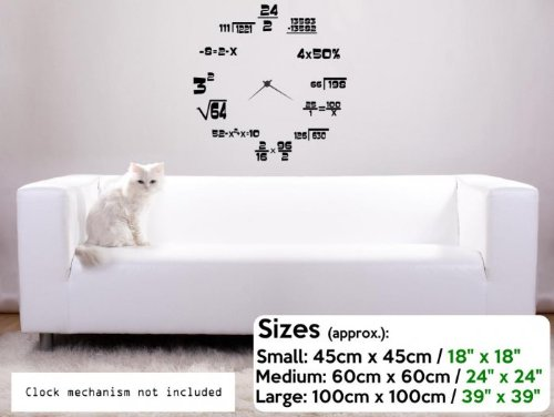 Amazon.com: Maths Geeks Clock Background Wall Sticker (Small: 45cm x 45cm / 18
