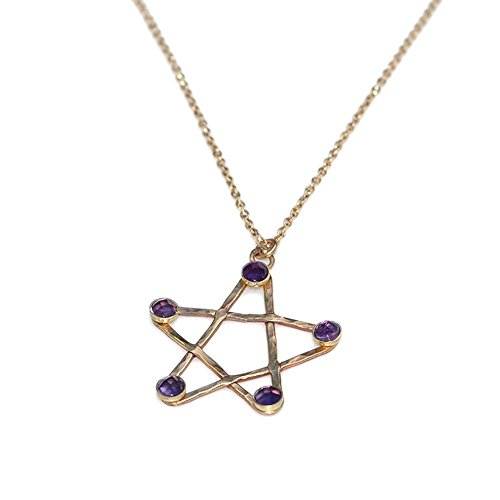 3mm Amethysts Hammered Star Pendant Necklace Gold / Drop Charm Necklace, Amethyst Necklace - Hammered Drop Pendant