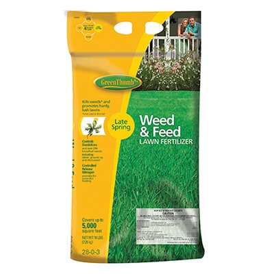 PACKAGE OF 2 - Green Thumb, 5,000 SQFT Coverage, 16 LB, 28-0-3, Step 2 (Late Spring) Premium Weed & Feed Lawn Fertilizer …