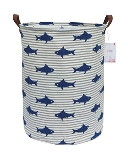 CLOCOR Large Storage Bin-Cotton Storage Basket-Round Gift Basket with Handles for Toys,Laundry,Baby Nursery (Shark) ()