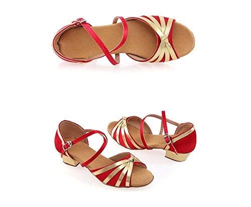 Latine Chaussures amp; Color Ballroom Fille Femme 40 Filles Rouge Danse De Tmkoo Taille 8UIqdw8