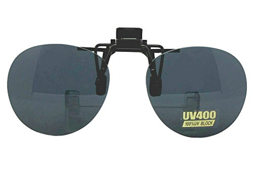 Round Non Polarized Flip Up Clip On Sunglasses (Black - Sunglasses Frames Round For Clip-on