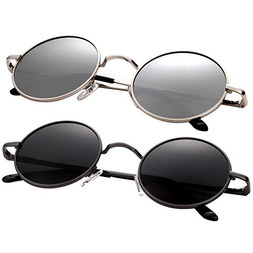 Round Sunglasses for Men Polarized Wearpro Vintage Womens Men's Sun Glasses Hippie Retro Small Circle Glass (black+silver) (Accessories Women For Sunglasses)