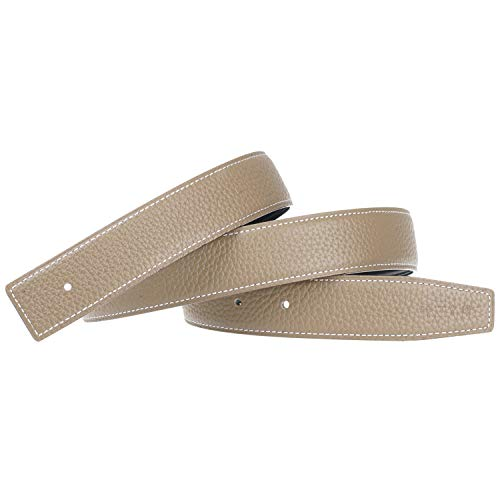 Replacement Belt Strap Reversible Replacement Belt Strap Genuine Leather Fits - for Hermes 1.3in Wide 32inch Grey (Horsebit Buckle Belt)