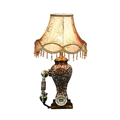FACAIG Brown telephone retro antique American resin of pointe table lamp fixed-line telephone budget with the audio function of welcome