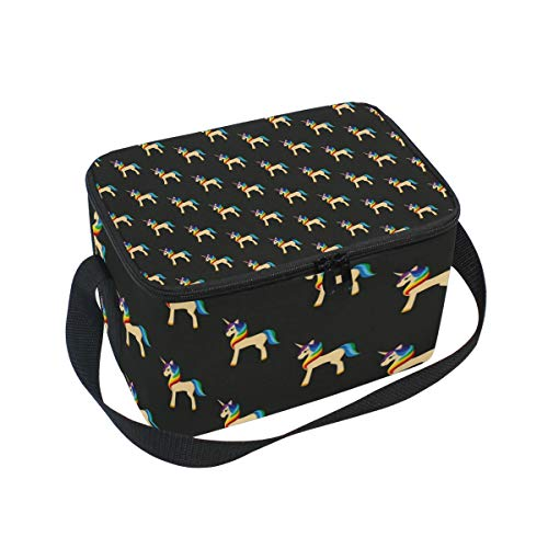 Unicorn With A Rainbow Mane Golden Large Insulated Lunch Bag for Women Men and Kids,Soft Leak Proof Cooler Lunch Box Adjustable Shoulder Strap Zipper for Work Picnic Camping