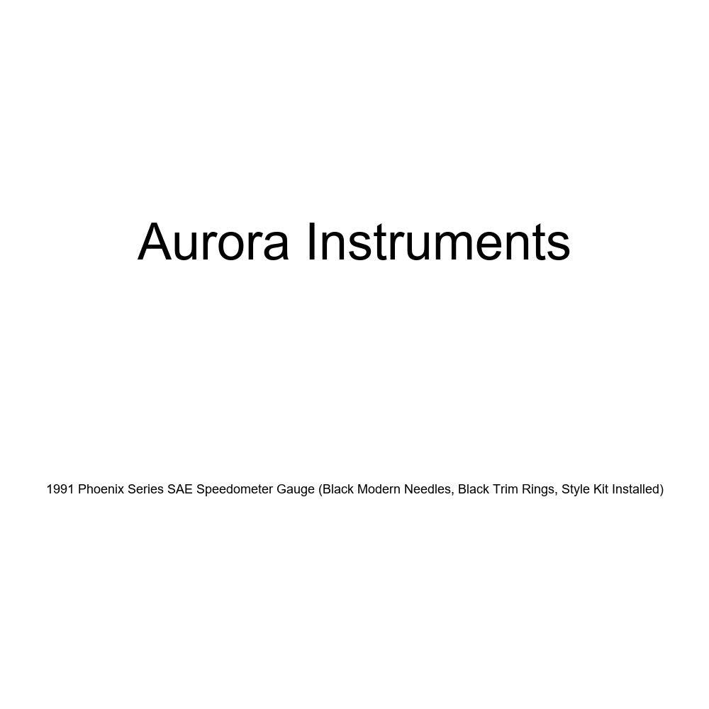 Black Modern Needles, Black Trim Rings, Style Kit Installed Aurora Instruments 1991 Phoenix Series SAE Speedometer Gauge