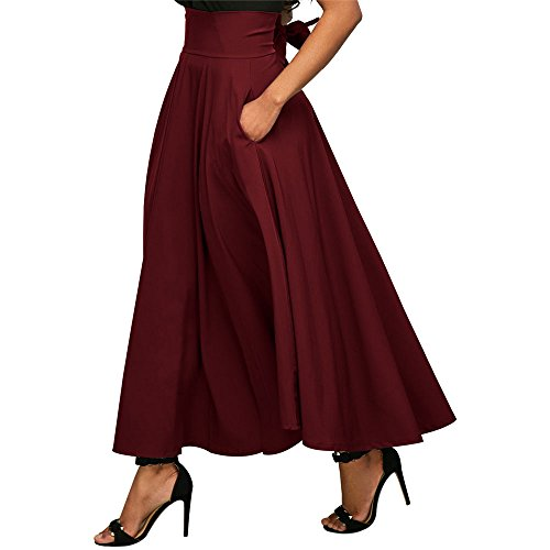 Jessica CC Women' s High Waist Pleated A-line Long Skirt Front Slit Belted Maxi Skirt, Red, XX-Large by Jessica CC (Image #1)