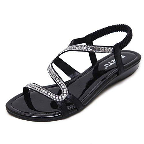 - CYBLING Women's Low Wedge Dress Wedding Sandals Bohemian Open Toe Rhinestone Formal Bridal Flat Shoes