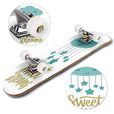 Classic Concave Skateboard Poster Template for Children's Room with Cute Sleeping Cartoon Cloud Longboard Maple Deck Extreme Sports and Outdoors Double Kick Trick for Beginners and Professionals : Sports & Outdoors