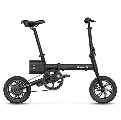 "12"" Foldable Outdoor Electric Bike with 36V Removable Lithium-Ion Battery Collapsible Frame E-Bike 250W Powerful Brushless Gear Motor (Black)"