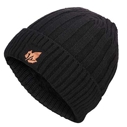 TRENDOUX Beanie Hats, Winter Knit Hat Warm Lining Men Women - Acrylic Unisex Plain Skull Cap - Baggy Slouchy Toboggan Beanies - Black