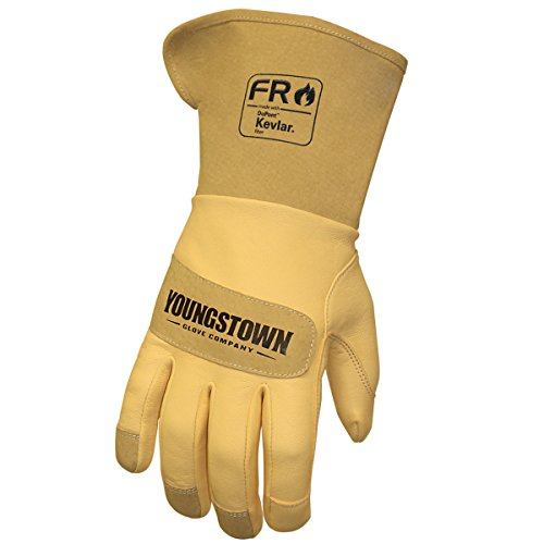 Youngstown Glove 12-3275-60-M FR Leather Lined with Kevlar Wide Cuff Performance Work Gloves, Medium, Tan