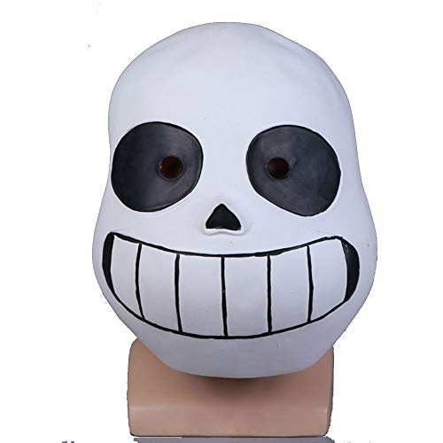 Molagogo Deluxe Latex Game Undertale Sans Full Head Mask Cosplay Costume Helmet Party Fancy Ball Halloween Christmas Props (for Adult, Black Eye) ()