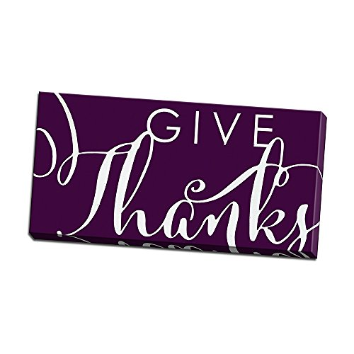 Give Thanks Plum Printed on 24x12 Canvas Wall Art by Alli Rogosich