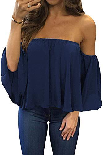 BLUETIME Women Cute Off Shoulder Chiffon Blouses Ruffles Short Sleeves Sexy Tops Casual T Shirts (S, Navy Blue)
