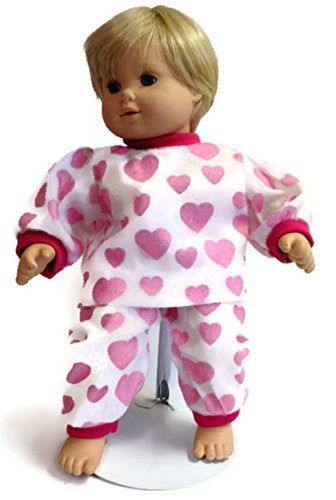 Doll Clothes Fits 15 inch Bitty Baby & Bitty Twin dolls Pink heart print 2 piece pajamas