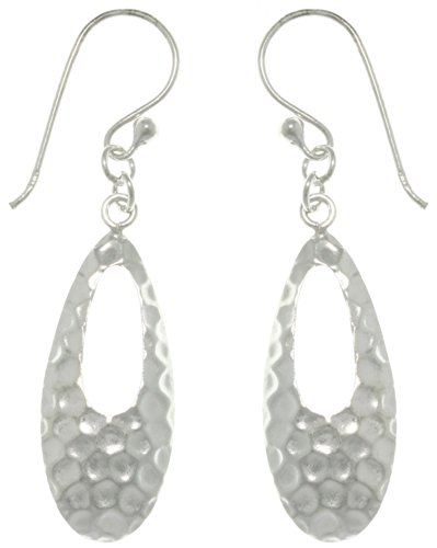 Jewelry Trends Sterling Silver Hammered Teardrop Dangle (Silver Hammered Style Earrings)