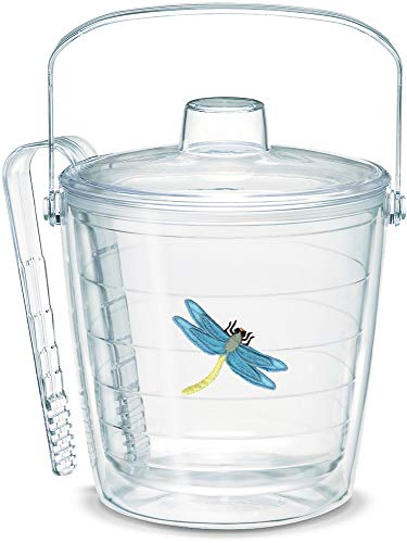 - Tervis 1039959 Dragonfly Blue Insulated Ice Bucket and Tongs with Emblem and Clear Lid - Boxed 87oz
