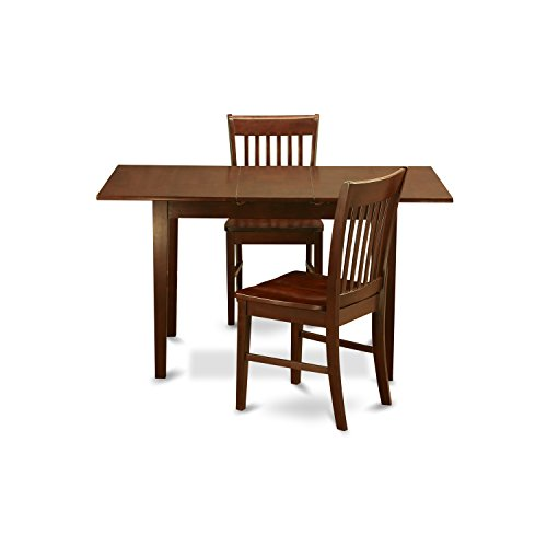 East West Furniture NOFK3-MAH-W 3-Piece Kitchen Nook Dining Table Set