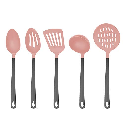 Country Kitchen 5 Piece Pink Nylon Cooking Utensil Set on a Ring with Black Gun Metal Stainless Steel Handles