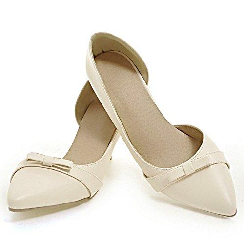 RAZAMAZA Women Fashion Slip On D'Orsay Pumps Heels Shoes Beige uhfSA1eIC2