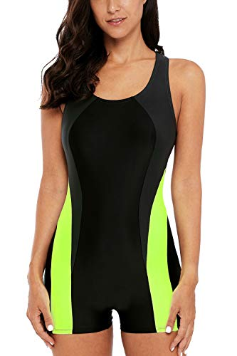 CharmLeaks Womens Sports Bathing Suit Boyleg Racerback one Piece Swimsuit Aerobics Swimwear
