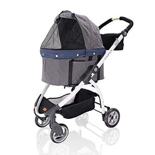 Cheap ibiyaya 4 Wheel Dog Stroller for Dogs – 3-in-1 Carrier Basket + Car Seat + Stroller in One, Great for Travel with One Medium or Multiple Small Dogs and Cats with Build-in Suspension