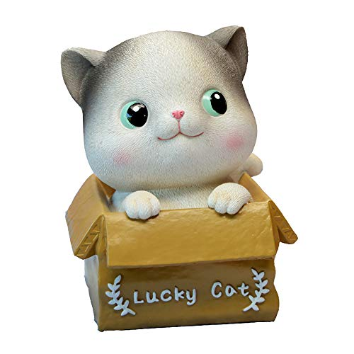 Agirlgle Piggy Bank Cat Coin Banks for Girls for Boys Cat Decor Statue Non Breakable Resin Money Bank Toy Saving Pot Money Box Gifts for Kids Home Decor Decoration (Smiling cat)