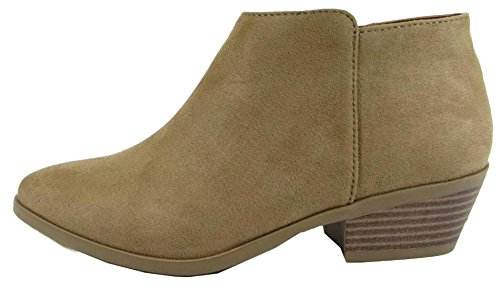 Ankle Heel Bootie Soda Natural Block Chunky Women's w Western Stacked Suede Low gSSfxUq
