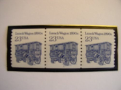 US Postal Stamps, 1990, Lunch Wagons, S# 2464, Plate Number Coil of 3, Plate # 3, MNH