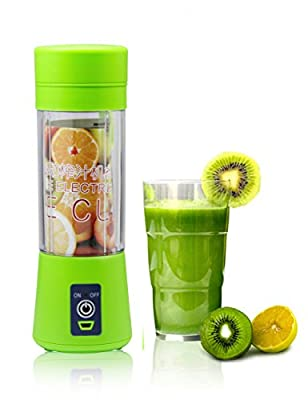 Topfit Mini USB Juicer Cup, Portable Personal Size Eletric Rechargeable Mixer, Fruit Mixing Machine,Blender, Water Bottle 380ml with USB Charger Cable for Sports, Working, Kitchen, Dining (Green)