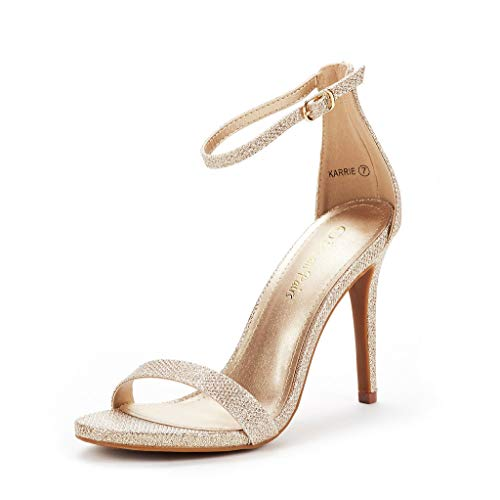 (DREAM PAIRS Women's Karrie Gold Glitter High Stiletto Pump Heel Sandals Size 6.5 B(M) US)