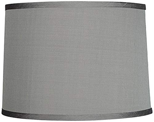Platinum Gray Dupioni Silk Lamp Shade 13x14x10 (Spider) - -