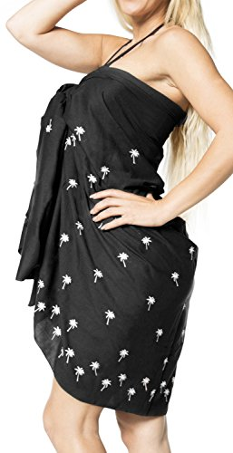 LA Costume Pollici Delicato di LEELA da Sarong d721 Liscio Pareo Bagno Nero 78x41 Mano Bikini Rayon Paillettes 1tr1nxRqFw