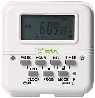 Century 7 Day Heavy Duty Digital Programmable Dual Outlet Timer - 2  Independently Programmable Grounded Outlets, 8 ON/OFF Programs, Heavy Duty