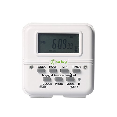 Century 7 Day Heavy Duty Digital Programmable Dual Outlet Timer - 2 Independently Programmable Grounded Outlets, 8 ON/OFF Programs, Heavy Duty Electrical Timer Switch, 3 Prong, 15A/1875W