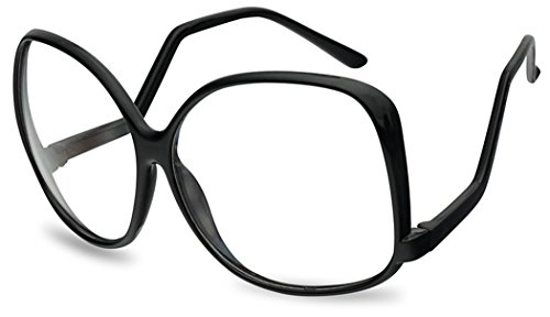 Vintage Inspired Round Super Oversized Clear Lens Fashion Circle Eye Glasses (Black (62mm), ()