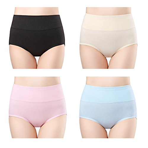 wirarpa Womens Cotton Underwear 4 Pack High Waist Briefs Light Tummy Control Ladies Comfort Stretch Panties Underpants Size L (Waist Cotton Women Panties)