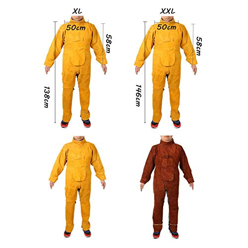 LAIABOR Welding bib Apron with Adjustment Split Leg Protective Foot Yellow Cowhide Leather Safety Apparel Flame wear Resistant Multi Purpose Workshop Long Suit for Welder,Brown,XXL by LAIABOR (Image #6)