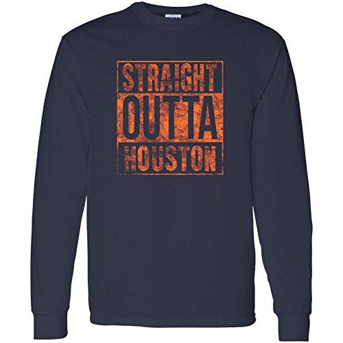 Straight Outta Houston - Hometown Pride, Football, Texas Long Sleeve T-Shirt - Large - Navy w/Orange Print