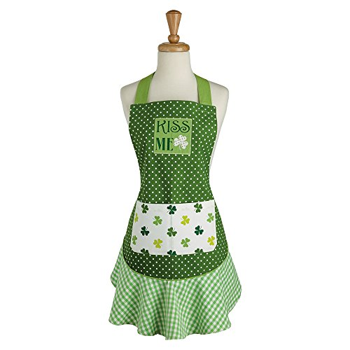 DII 100% Cotton, St. Patricks Day Kiss Me Ruffle Embroidered Kitchen Apron With Adjustable Neck & Waist Ties, Cute Chef Apron Is Machine Washable With Front Pockets, Perfect for Cooking, Baking, Hosting