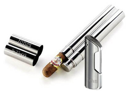 Visol''Portland'' Flask and Cigar Tube Combo Lighter Gift Set