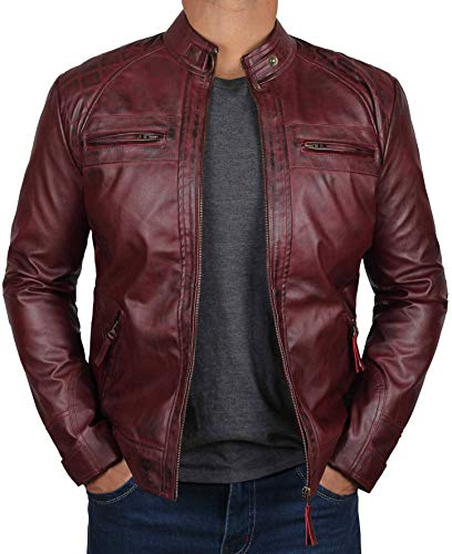 Blingsoul Red Leather Jacket for Men | [1100101] Johnson Real Maroon, XS