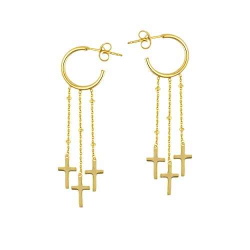 DANGLE EARRINGS, 14KT GOLD 15MM SEMI HOOP W/DANGLE CROSS TRIO by DiamondJewelryNY
