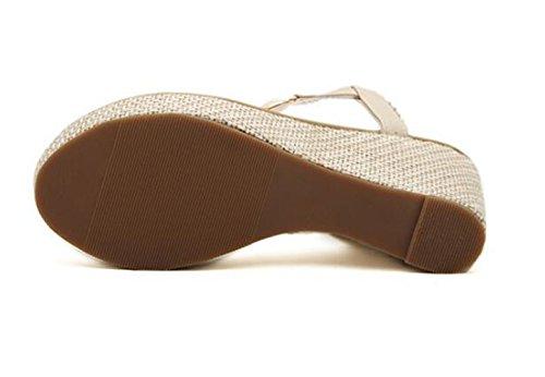 Sandales été fille perles avec Tongs abricot plat Flops dames femmes sandale flip Flattie Ohmais Bohême XEvqw