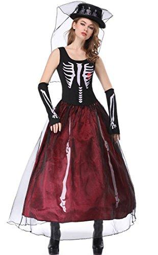 Honeystore Women's Zombie Skull Bride Costume Halloween Cosplay Burgundy and Black M ()
