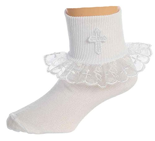 mmunion Baptism or Special Occasion Socks with Cross 9-11yr ()